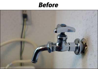 洗濯水栓の交換前